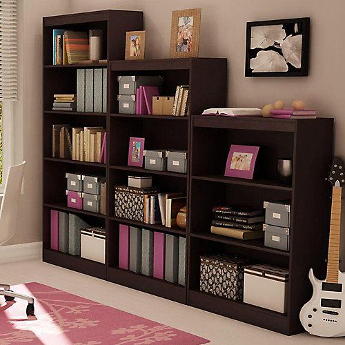 Axess 4-Shelf Bookcase, Chocolate