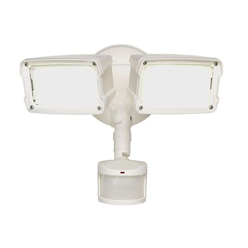 Defiant 180 Degree Small Twin Motion Activated Outdoor White LED Security Floodlight