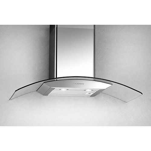 36-inch, 500 CFM Curved Glass Wall-Mount Range Hood in Stainless Steel
