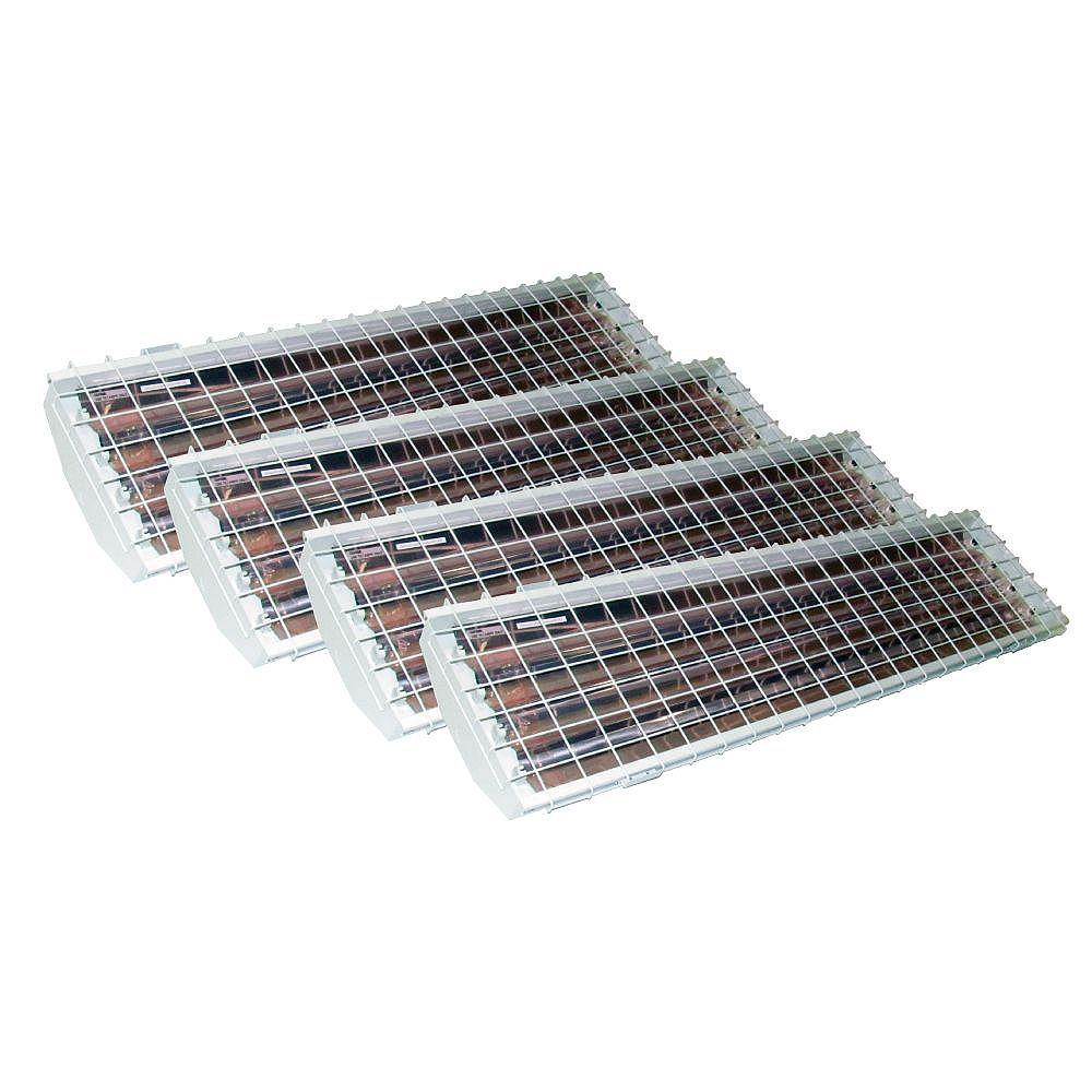 Home Selects Emballage économique de luminaires pour grande hauteur à 4 tubes fluorescents T8 avec réflecteur en aluminium et grille de protection