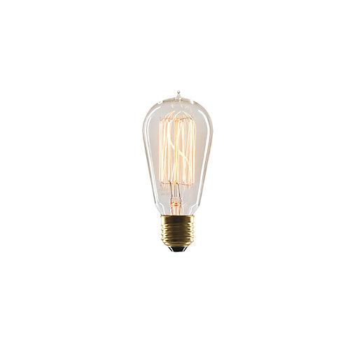 Ampoule rétro Marconi, E26, 40W avec filament de verre transparent