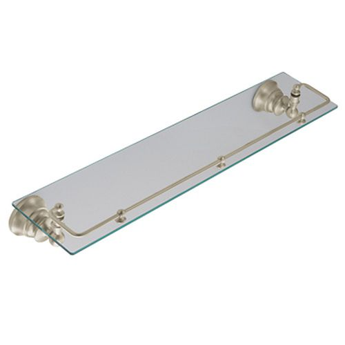 Waterhill Glass Shelf with Pivoting Rail in Brushed Nickel