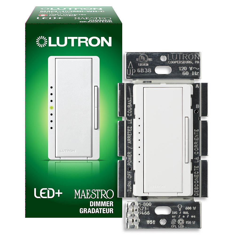 Lutron Maestro LED+ Dimmer Switch for Dimmable LED/Halogen/Incandescent Bulbs, Single-Pole or 3-Way, White