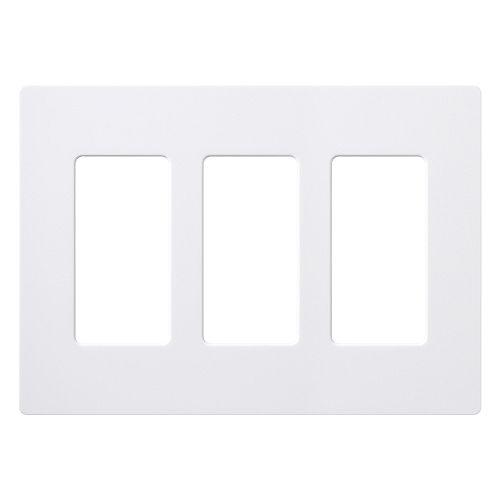 Plaque murale Claro pour 3 dispositifs décorateurs/à bascule, blanc, lustré, ens. de 1