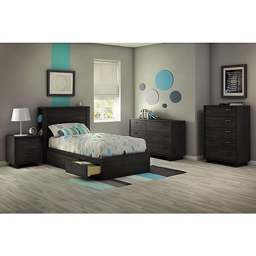 Fynn Twin Mates Bed (39 ft.) with 3 Drawers, Gray Oak