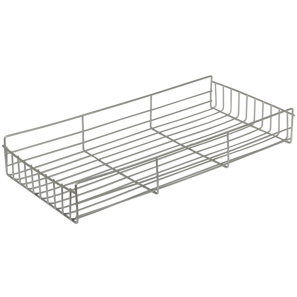 Knape & Vogt Frosted Nickel Side-Mount Pantry Basket - 12 Inches Wide