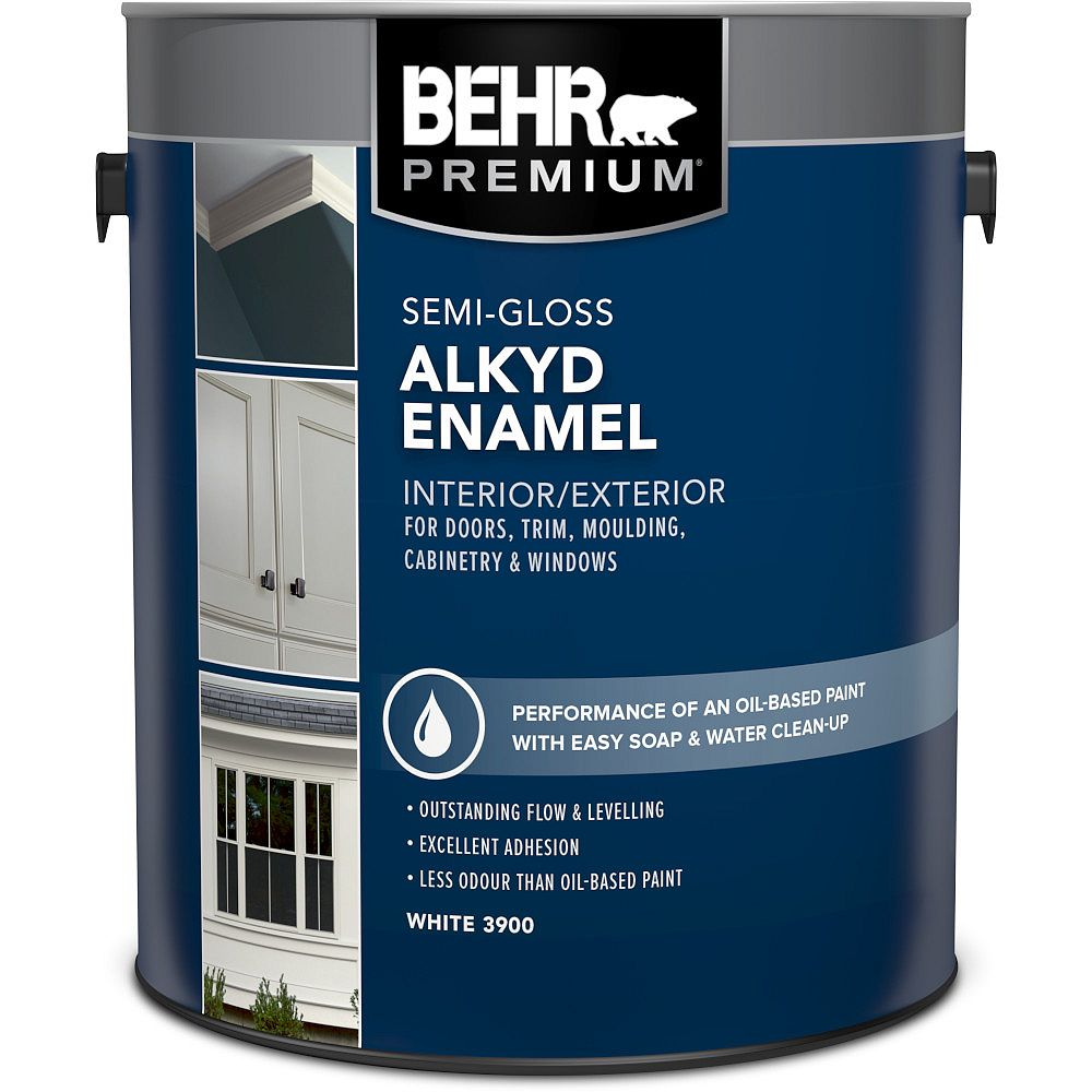 BEHR Interior/Exterior Alkyd Semi-Gloss Enamel Paint in White Base 3.79 L