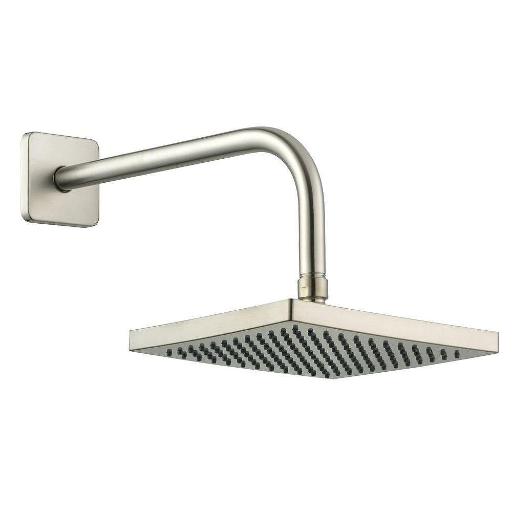 Glacier Bay 8 Inch Square Showerhead With 12 Inch Stainless Steel Arm & Flange In Brushed Nickel