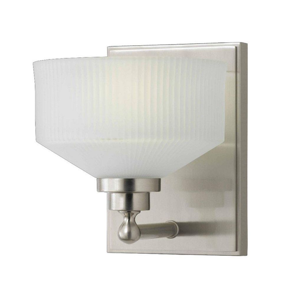 Illumine 1 Light Wall Sconce Satin Nickel Finish Frosted Ribbed Glass