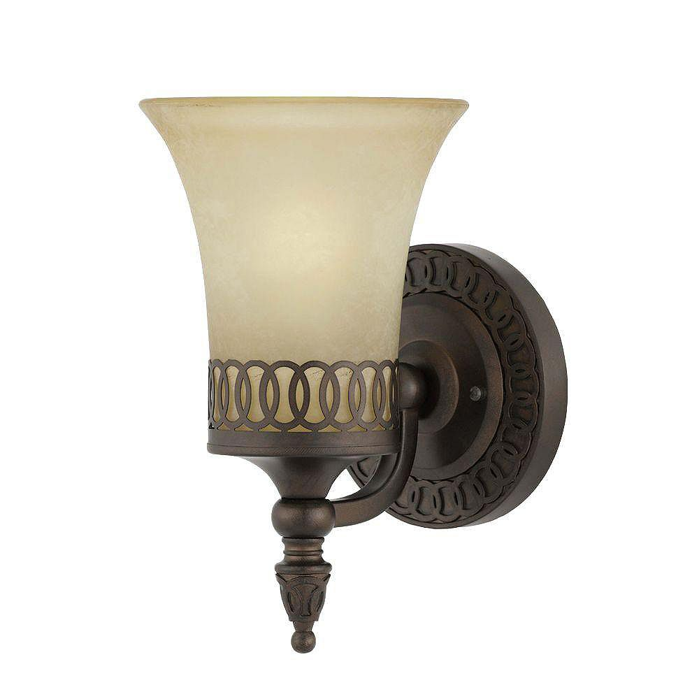 Illumine 1 Light Wall Sconce Bronze Finish Cognac Tinted Frosted Glass