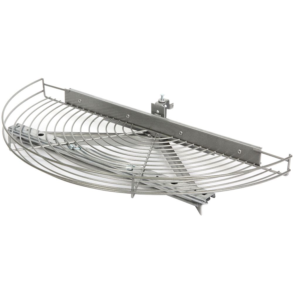Knape & Vogt Glide-Out Half Moon Platinum Wire Lazy Susan - 27.5 Inches Diameter