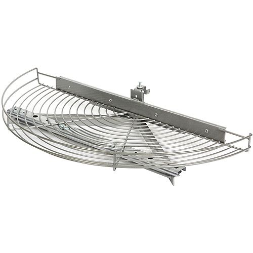 Glide-Out Half Moon Platinum Wire Lazy Susan - 27.5 Inches Diameter