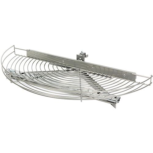 Glide-Out Half Moon Frosted Nickel Wire Lazy Susan - 33.5 Inches Diameter