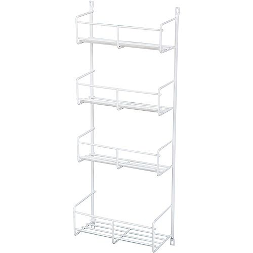 Door Mounted White Spice Rack - 7.8125 Inches Wide