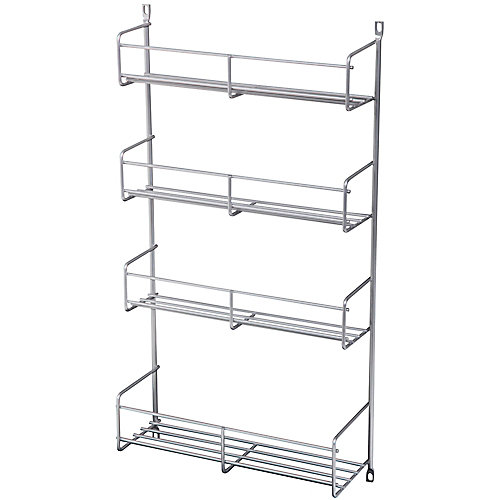 Door Mounted Frosted Nickel Spice Rack - 10.8125 Inches Wide