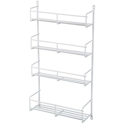 Door Mounted White Spice Rack - 10.8125 Inches Wide