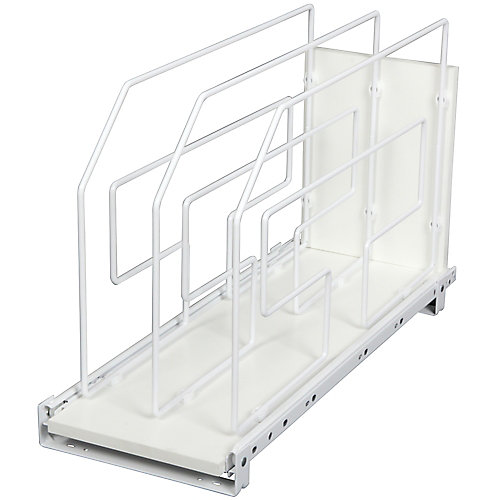 20-inch H x 9 in W x 22-inch D Pull-Out Tray Divider Cabinet Organizer in Silver