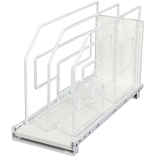 Knape & Vogt 20-inch H x 9 in W x 22-inch D Pull-Out Tray Divider Cabinet Organizer in Silver