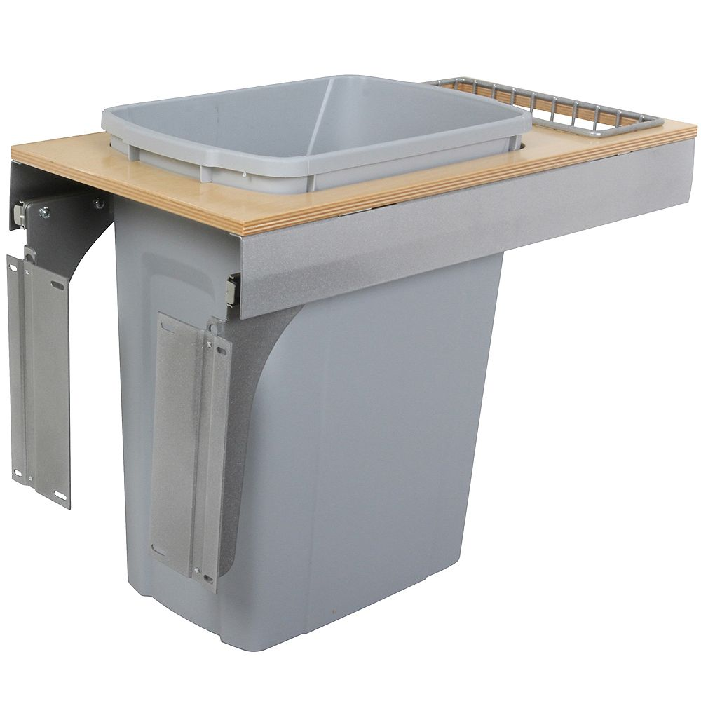 Knape & Vogt Single 35 Quart Bin Platinum Soft-Close Top-Mount Waste and Recycling Unit - 11.5 Inches Wide - Lid is not Included