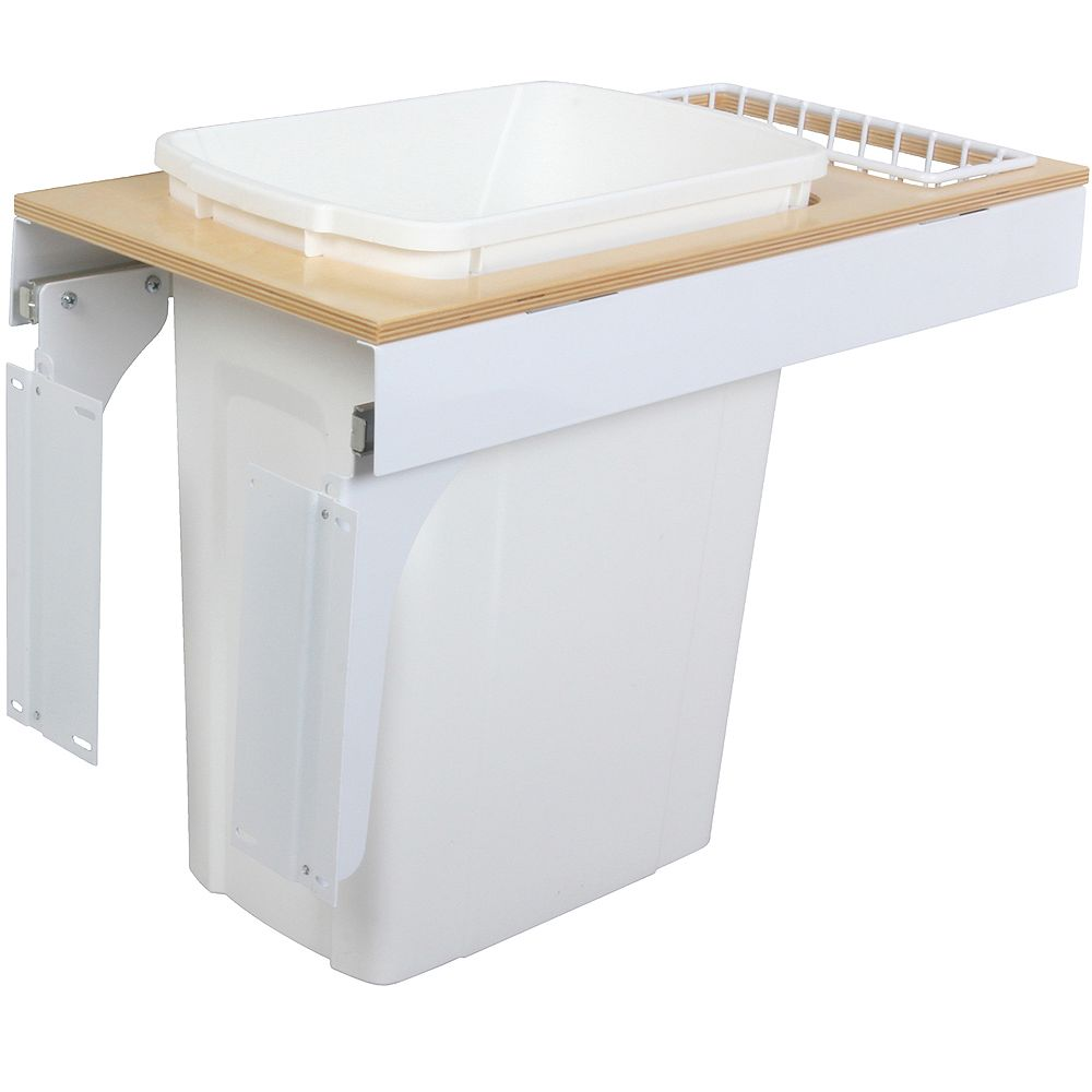 Knape & Vogt Single 35 Quart Bin White Soft-Close Top-Mount Waste and Recycling Unit - 11.5 Inches Wide - Lid is not Included