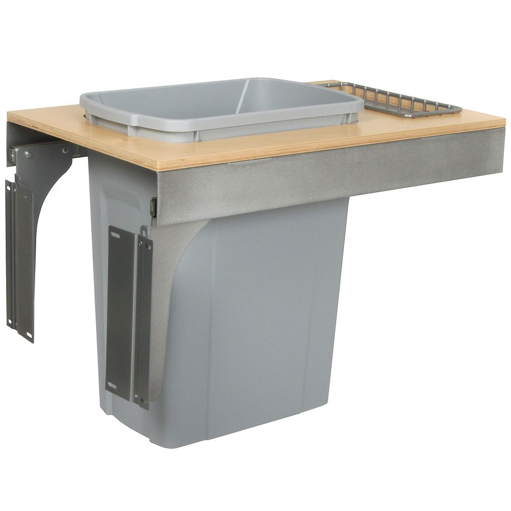Knape & Vogt Single 35 Quart Bin Platinum Soft-Close Top-Mount Waste and Recycling Unit - 14.5 Inches Wide - Lid is not Included