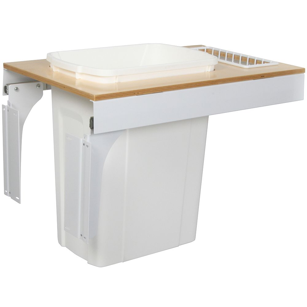 Knape & Vogt Single 35 Quart Bin White Soft-Close Top-Mount Waste and Recycling Unit - 14.5 Inches Wide - Lid is not Included