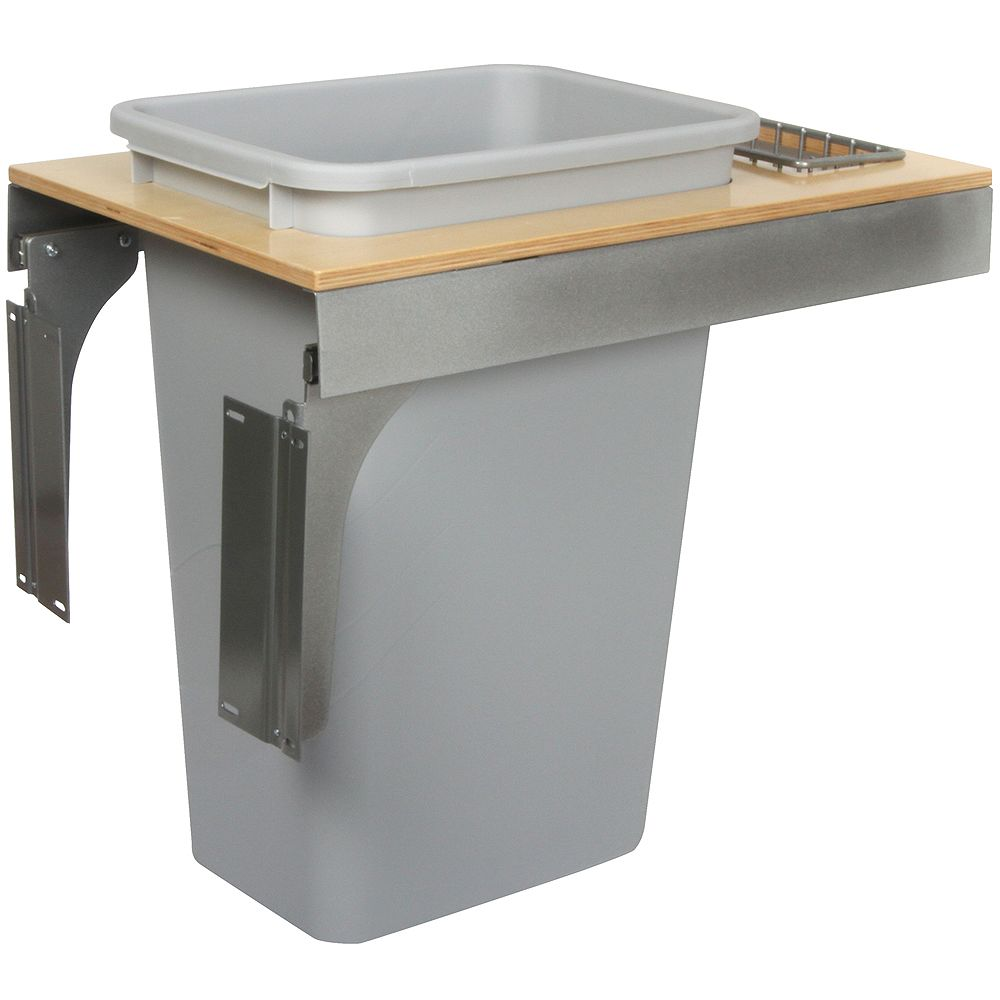 Knape & Vogt Single 50 Quart Bin Platinum Soft-Close Top-Mount Waste and Recycling Unit - 14.5 Inches Wide - Lid is not Included