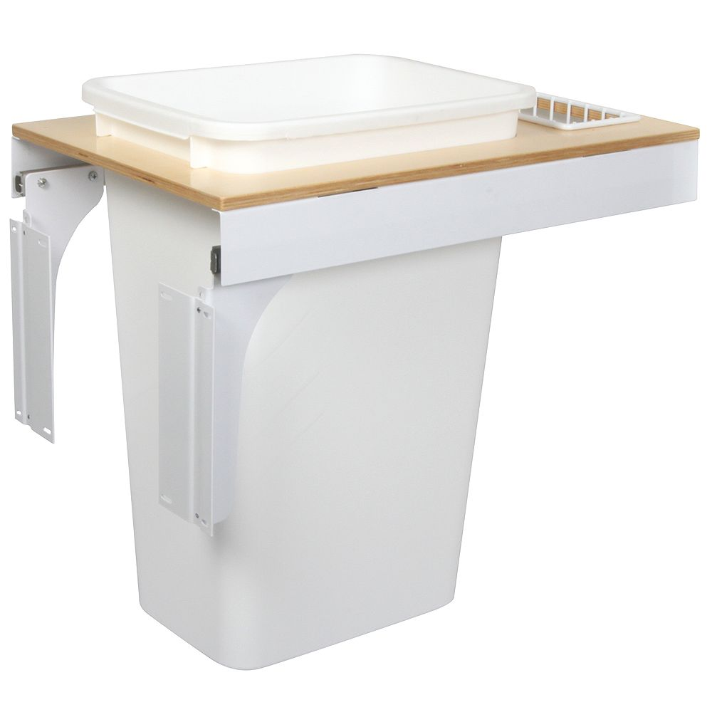 Knape & Vogt Single 50 Quart Bin White Soft-Close Top-Mount Waste and Recycling Unit - 14.5 Inches Wide - Lid is not Included