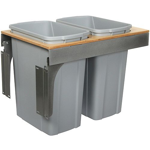 Knape & Vogt Double 35 Quart Bin Platinum Soft-Close Top-Mount Waste and Recycling Unit - 15 Inches Wide