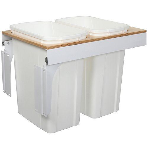 Unité à déchets et à recyclage à deux contenants de 33 litres à installation par le dessus à fermeture douce blanc - 15 pouces de largeur - Couvercle non inclus