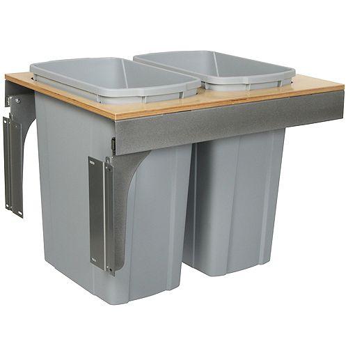 Unité à déchets et à recyclage à deux contenants de 33 litres à installation par le dessus à fermeture douce platine - 18 pouces de largeur - Couvercle non inclus
