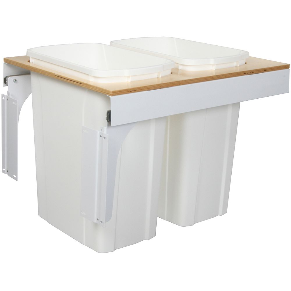 Knape & Vogt Double 35 Quart Bin White Soft-Close Top-Mount Waste and Recycling Unit - 18 Inches Wide - Lid is not Included
