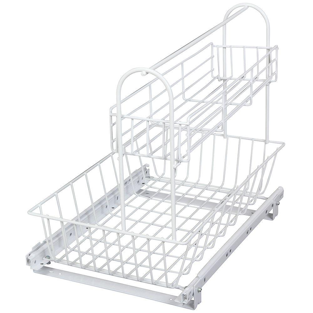 Knape & Vogt Under sink Basket With Removable Upper Basket - 15.125 Inches Wide