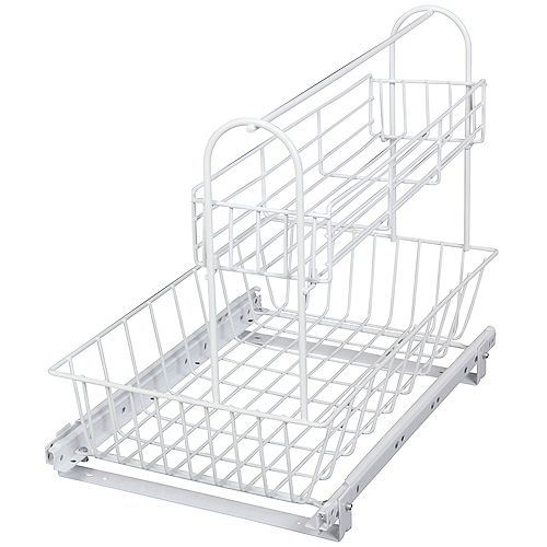 Under sink Basket With Removable Upper Basket - 15.125 Inches Wide