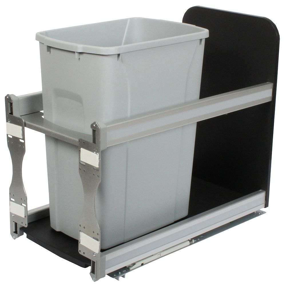 Knape & Vogt Single 35 Quart Bin Platinum Soft-Close Waste and Recycling Unit - 11.81 Inches Wide - Lid is not Included