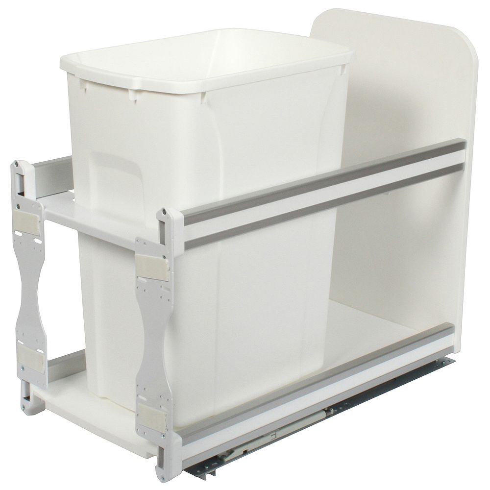 Knape & Vogt Single 35 Quart Bin White Soft-Close Waste and Recycling Unit - 11.81 Inches Wide - Lid is not Included