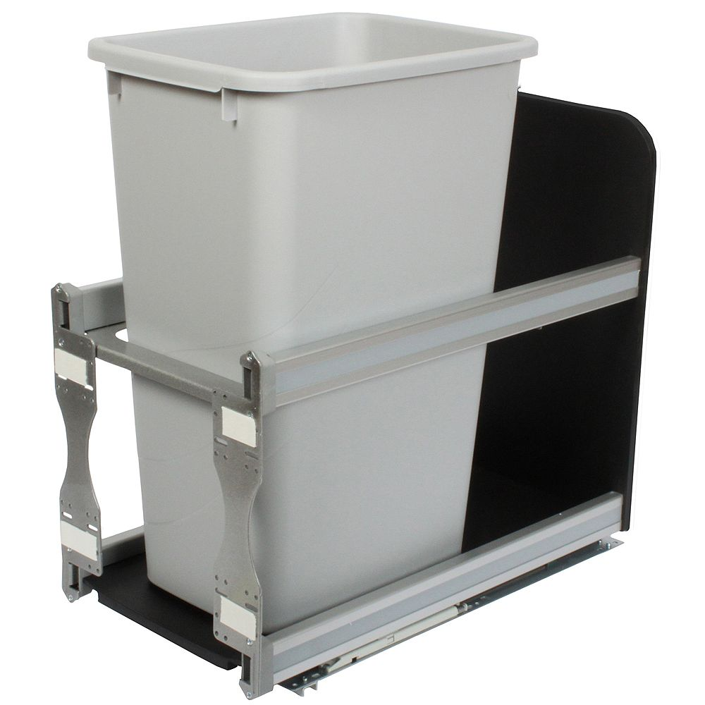 Knape & Vogt Single 50 Quart Bin Platinum Soft-Close Waste and Recycling Unit - 11.81 Inches Wide - Lid is not Included