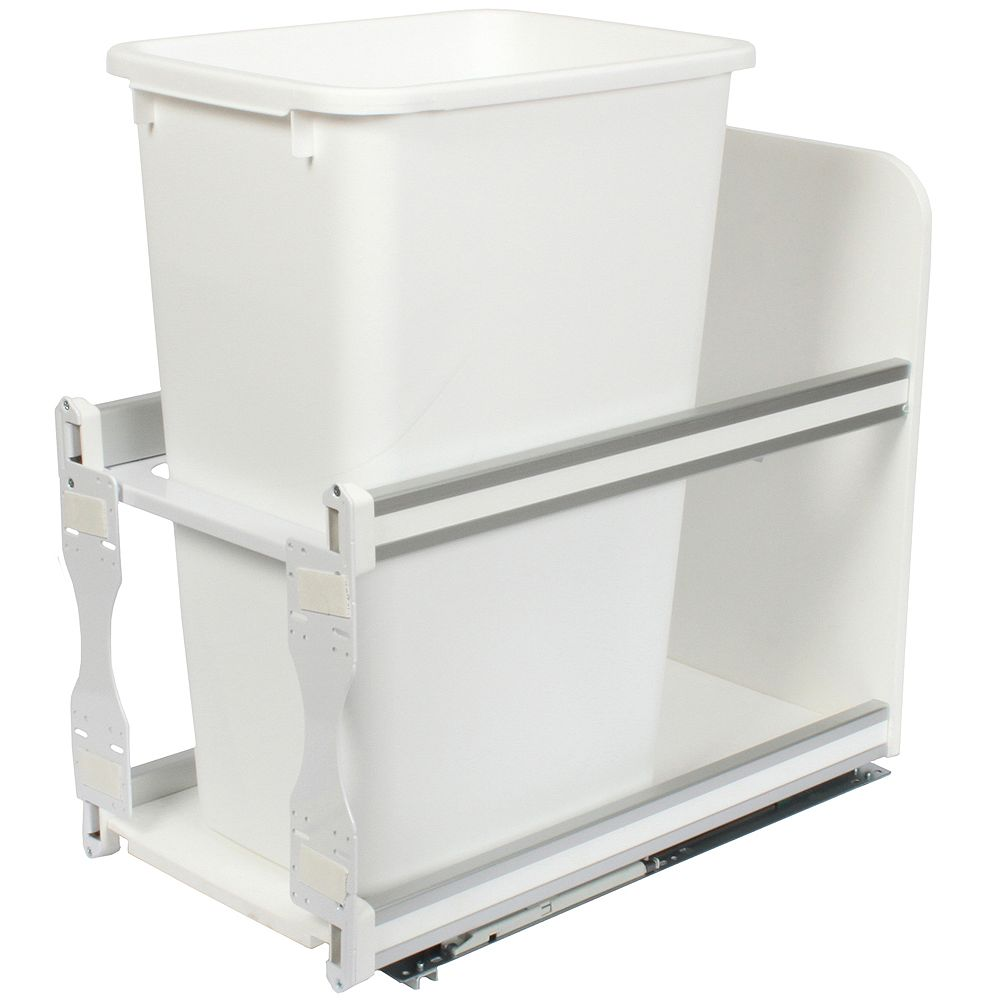 Knape & Vogt Single 50 Quart Bin White Soft-Close Waste and Recycling Unit - 11.81 Inches Wide - Lid is not Included
