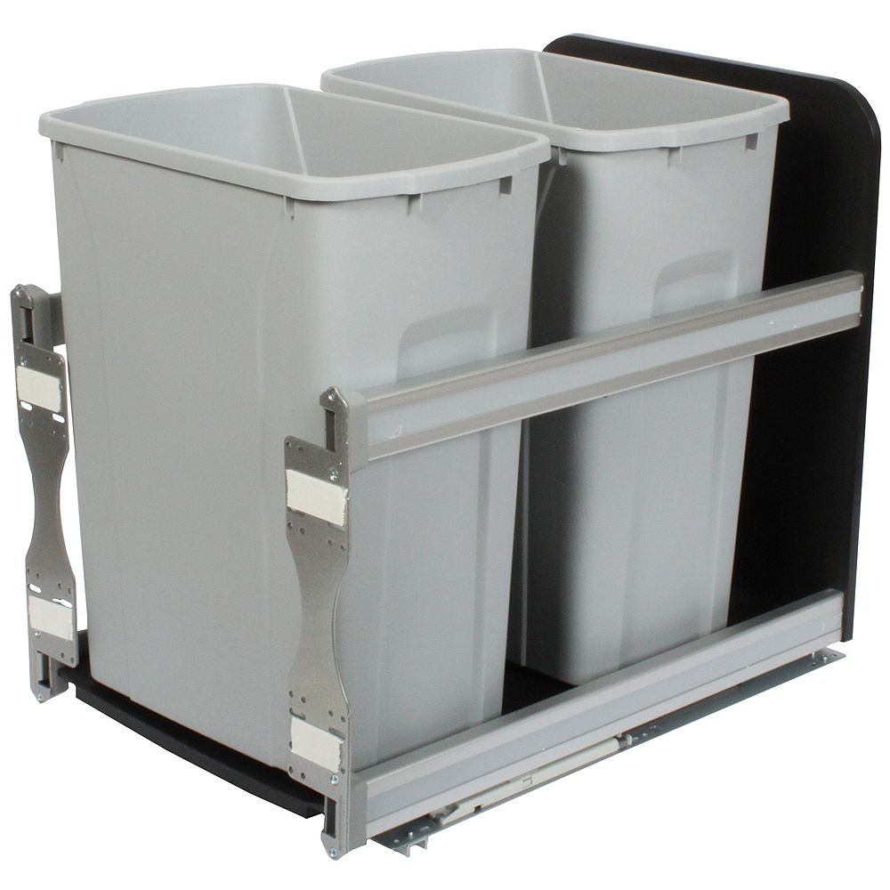 Knape & Vogt 18-inch H x 15-inch W x 22-inch D Plastic In-Cabinet 33.1 L Double Pull-Out Trash Can in Silver