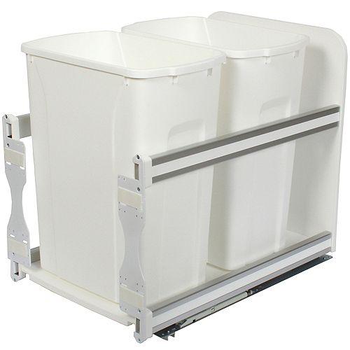 Unité à déchets et à recyclage à deux contenants de 33 litres à fermeture douce blanc - 11,81 pouces de largeur - Couvercle non inclus