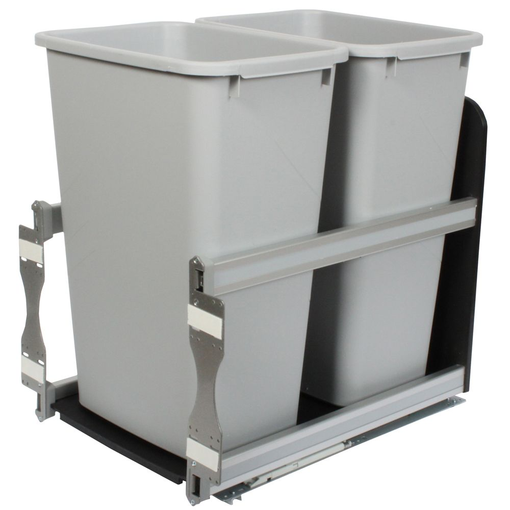 Double 50 Quart Bin Platinum Soft-Close Waste and Recycling Unit - 15.375 Inches Wide - Lid is not Included