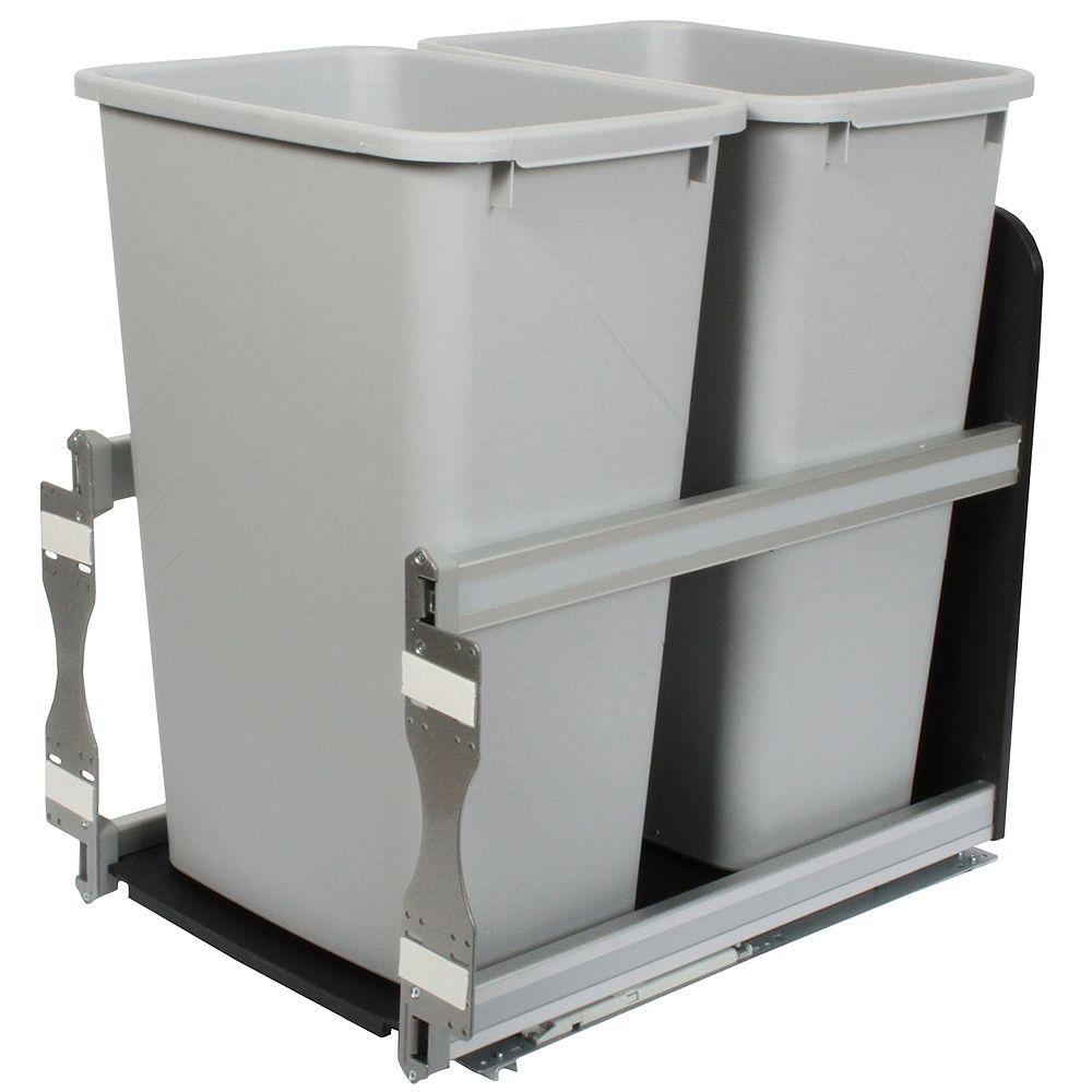 Knape & Vogt Unité à déchets et à recyclage à deux contenants de 47,3 litres à fermeture douce platine - 15,375 pouces de largeur - Couvercle non inclus
