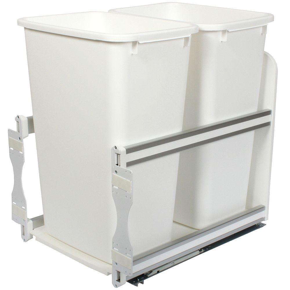 Knape & Vogt Unité à déchets et à recyclage à un contenant de 47,3 litres à fermeture douce blanc - 15,375 pouces de largeur - Couvercle non inclus