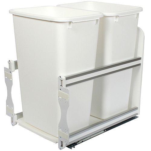 Unité à déchets et à recyclage à un contenant de 47,3 litres à fermeture douce blanc - 15,375 pouces de largeur - Couvercle non inclus