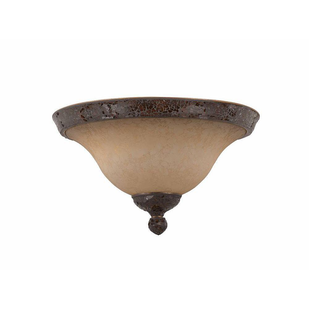 Illumine 2 Light Flush Mount Bronze Finish Antiqued Scavo Glass