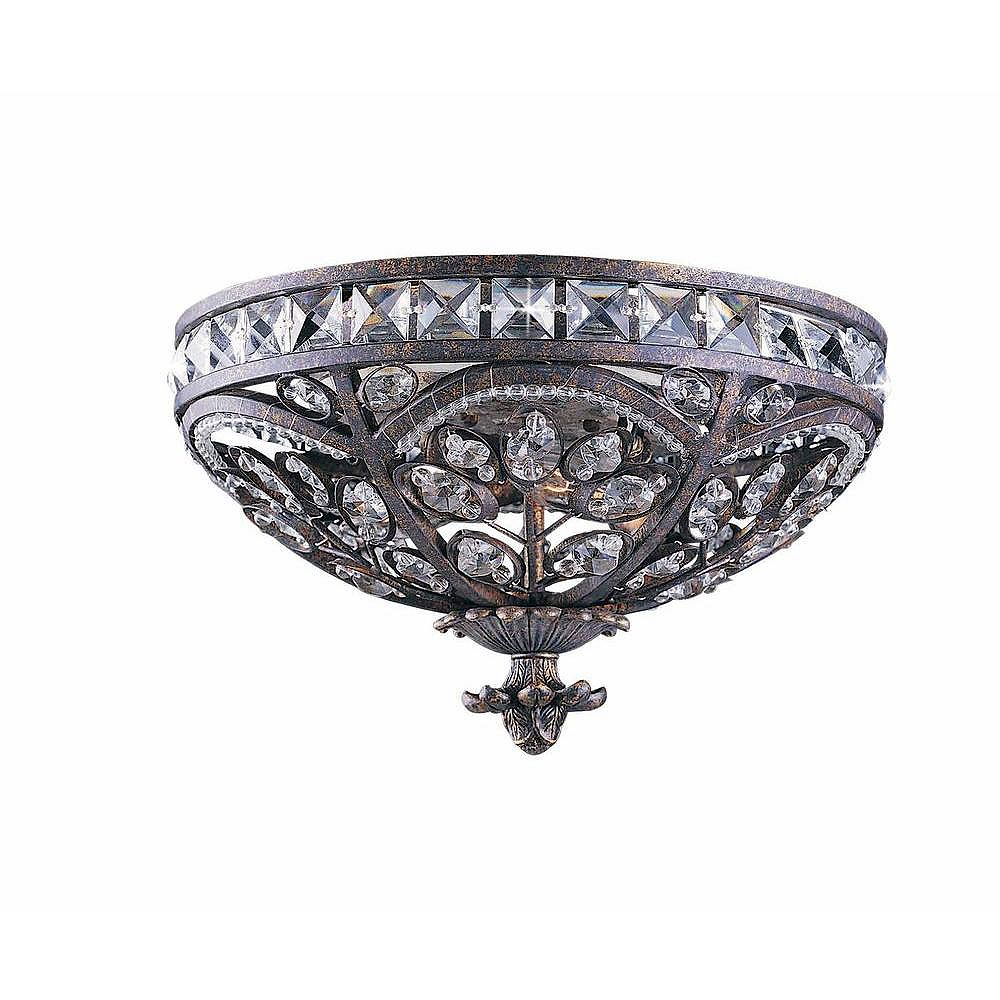 Illumine 3 Light Flush Mount Bronze Finish Crystal Accents