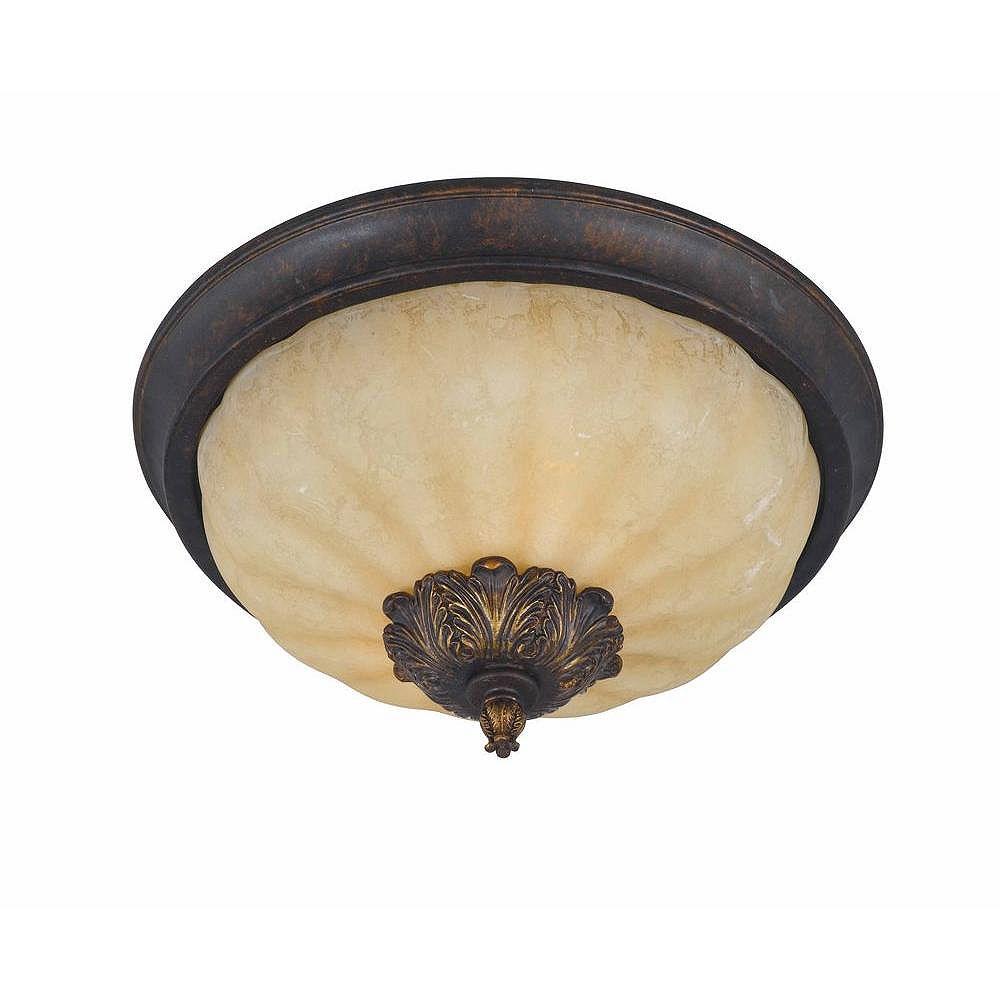Illumine 2 Light Flush Mount Bronze Finish Fluted Scavo Glass
