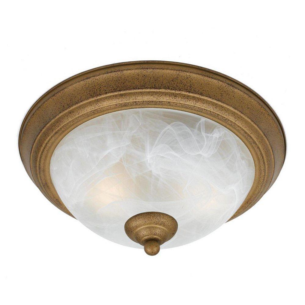 Illumine 2 Light Flush Mount Gold Finish White Swirl Alabaster Glass Shades