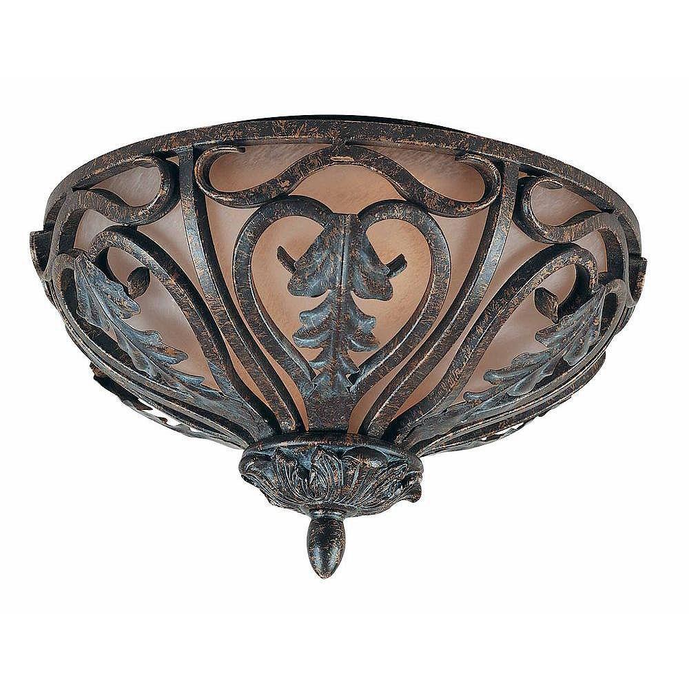 Illumine 2 Light Flush Mount Bronze Finish Cognac Antiqued Scavo Glass