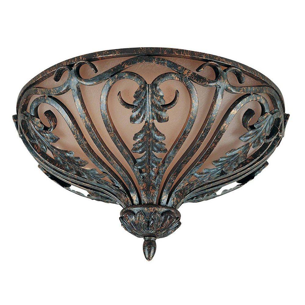 Illumine 4 Light Flush Mount Bronze Finish Cognac Antiqued Scavo Glass